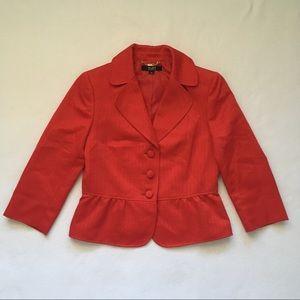 Alex Marie Red Peplum Woven Texture Lined Blazer 8